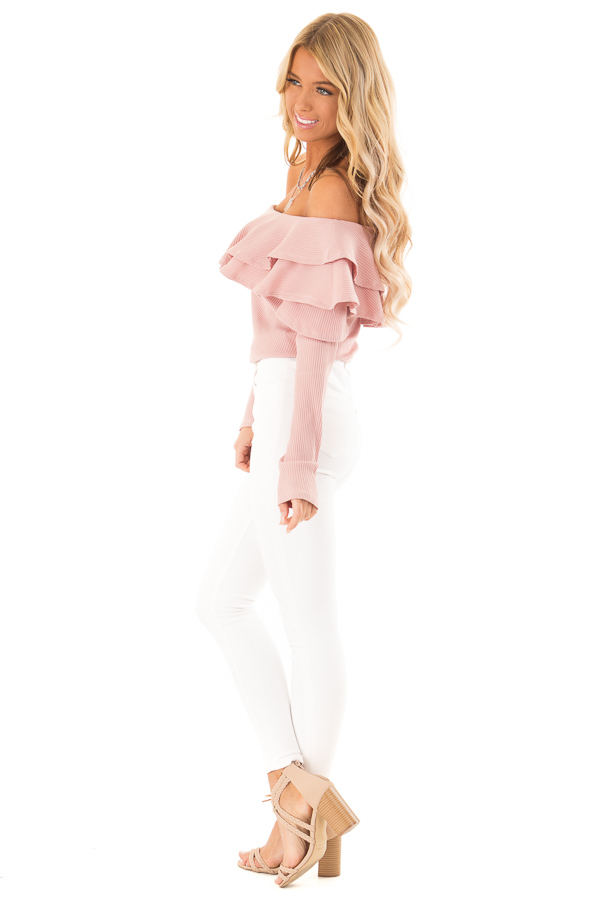 Dusty Blush Off Shoulder Ribbed Knit Top with Ruffle Detail side full body