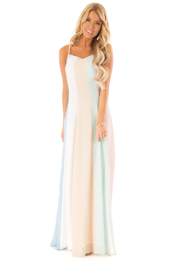 Pastel Colorblock Striped Draped Goddess Cami Dress front full body