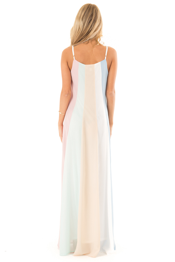 Pastel Colorblock Striped Draped Goddess Cami Dress back full body