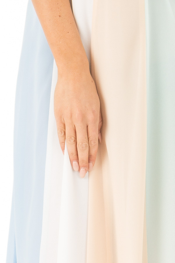 Pastel Colorblock Striped Draped Goddess Cami Dress detail
