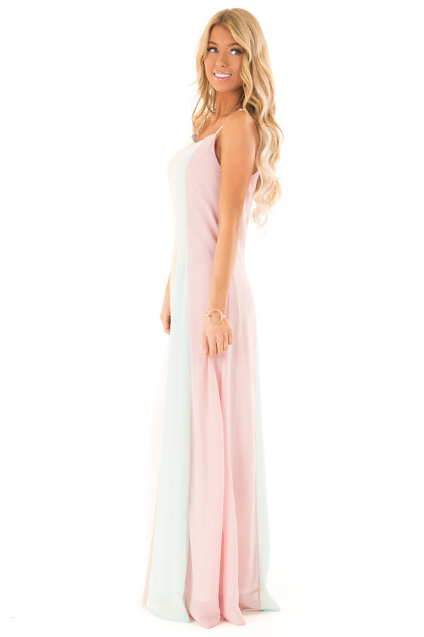 Pastel Colorblock Striped Draped Goddess Cami Dress side full body