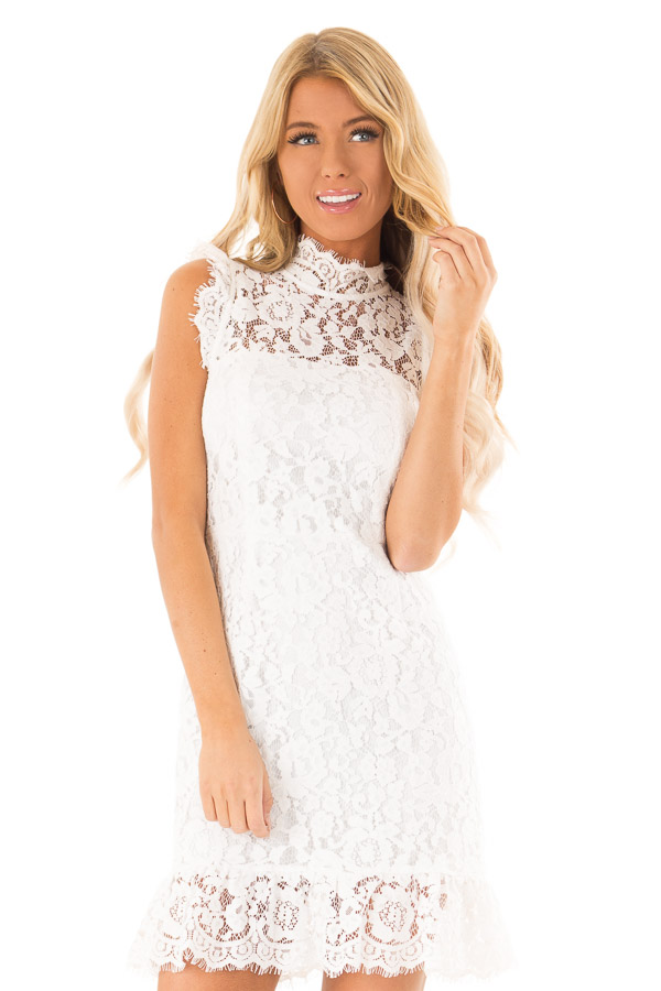 4ccd3c021a2 Off White Classy Sleeveless Lace Dress with Mock Neckline front close up