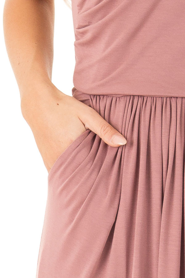 Dusty Rose Strapless Maxi Dress with  Side Pockets detail