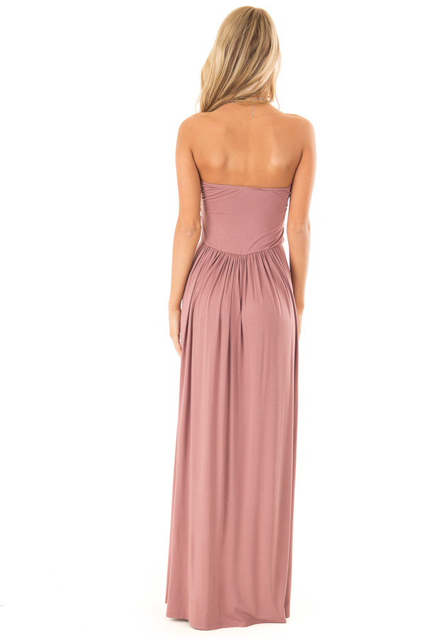 Dusty Rose Strapless Maxi Dress with  Side Pockets back full body
