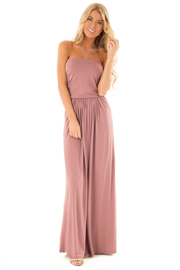 Dusty Rose Strapless Maxi Dress with  Side Pockets front full body