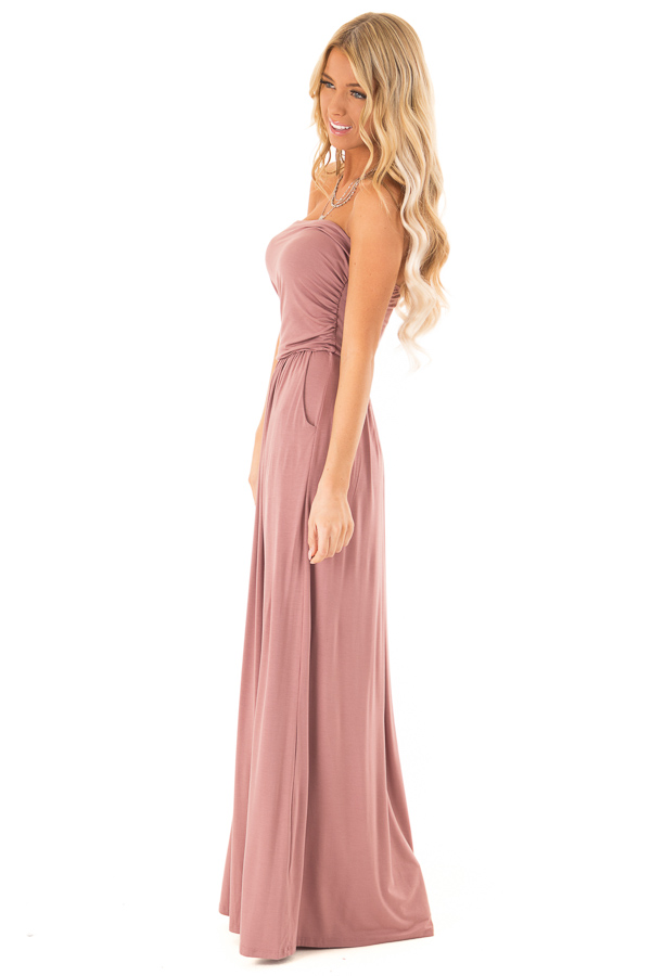 Dusty Rose Strapless Maxi Dress with  Side Pockets side full body