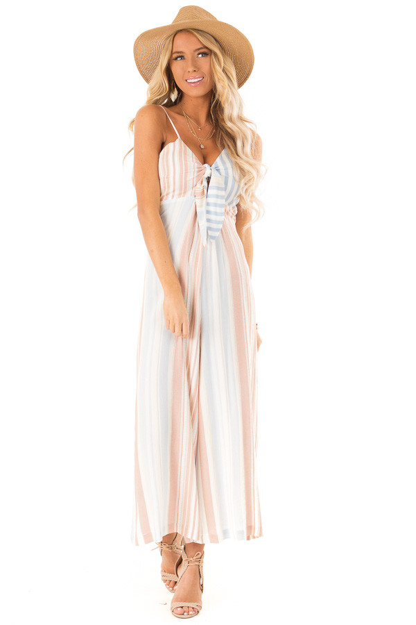 Dusty Blue Multicolor Striped Cami Jumpsuit with Front Tie front full body