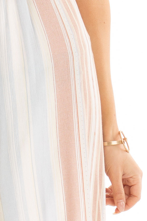 Dusty Blue Multicolor Striped Cami Jumpsuit with Front Tie detail