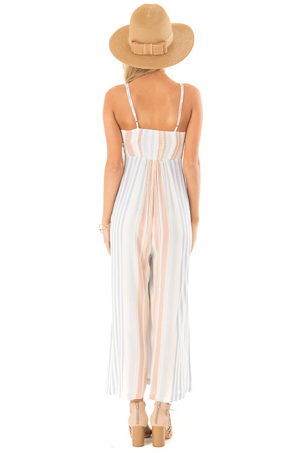 Dusty Blue Multicolor Striped Cami Jumpsuit with Front Tie back full body