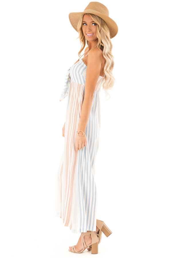 Dusty Blue Multicolor Striped Cami Jumpsuit with Front Tie side full body