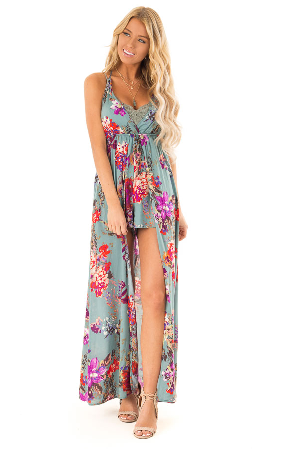 ae292ed30e7 Dusty Teal Floral Print Romper Dress with Maxi Overlay - Lime Lush ...
