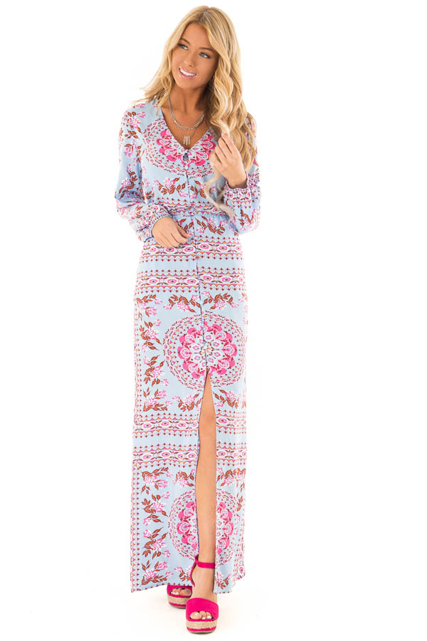 Sky Blue Button Up Multi Print Maxi Dress with Long Sleeves front full body