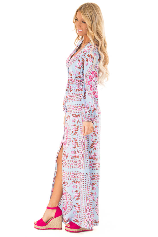 Sky Blue Button Up Multi Print Maxi Dress with Long Sleeves side full body