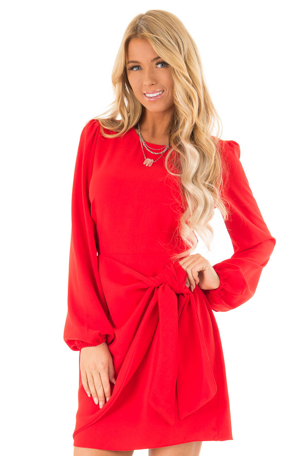 Crimson Long Cuffed Sleeve Dress with Front Waist Tie Detail front close up