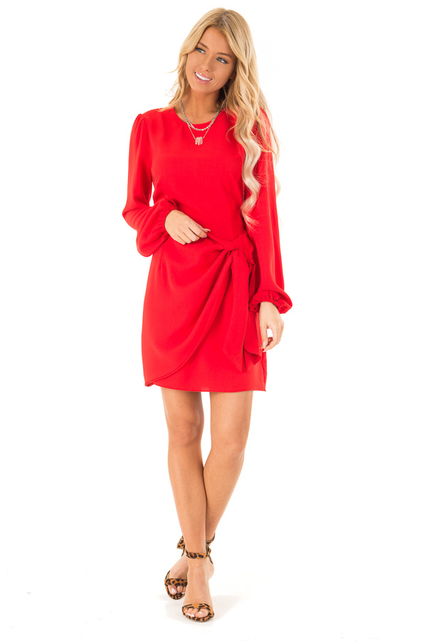 Crimson Long Cuffed Sleeve Dress with Front Waist Tie Detail front full body