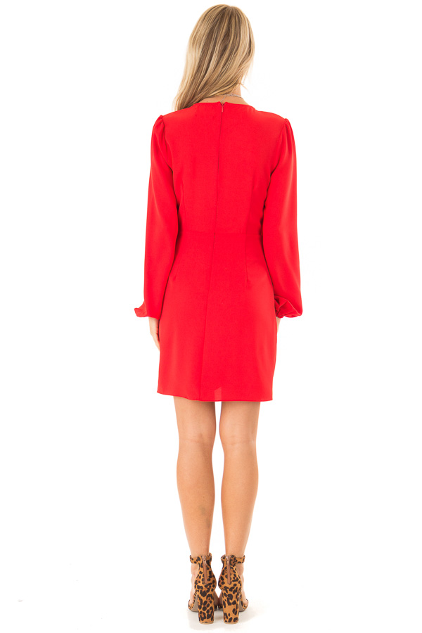 Crimson Long Cuffed Sleeve Dress with Front Waist Tie Detail back full body