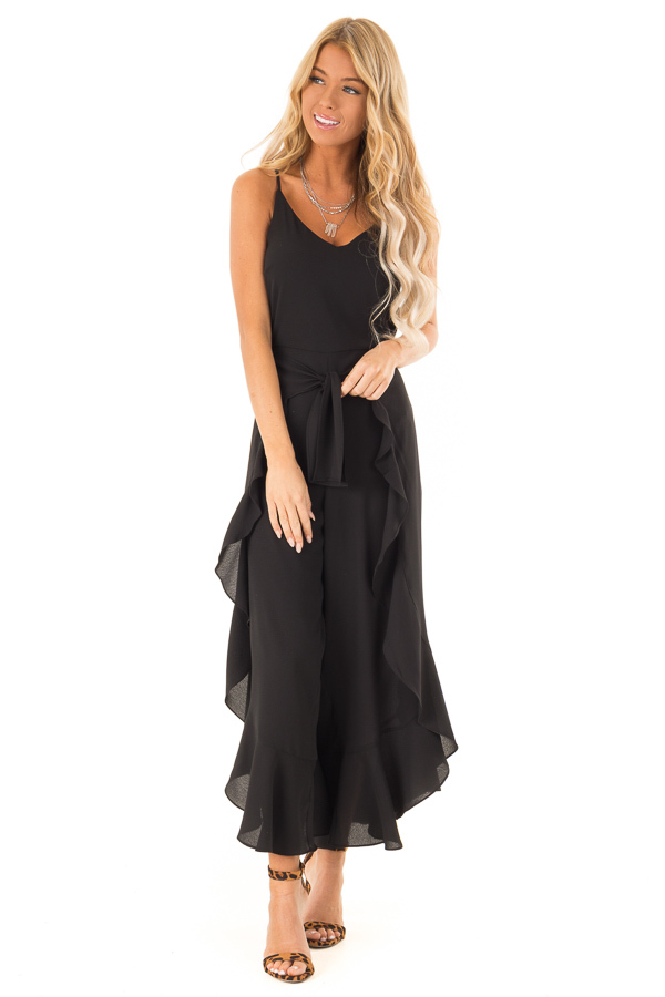 Black Cami Jumpsuit with Ruffled Wrap Legs and Front Tie front full body