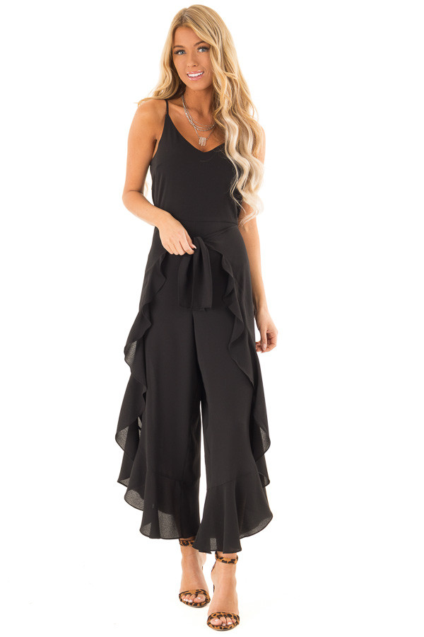 858b09a93c2b Black Cami Jumpsuit with Ruffled Wrap Legs and Front Tie front full body ...
