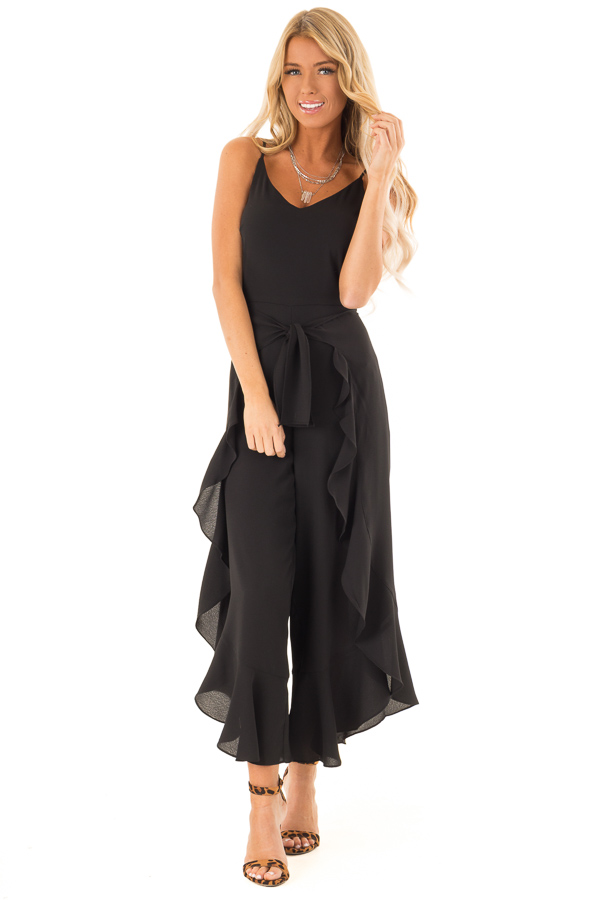 be7270ff64c0 ... Black Cami Jumpsuit with Ruffled Wrap Legs and Front Tie front full  body ...