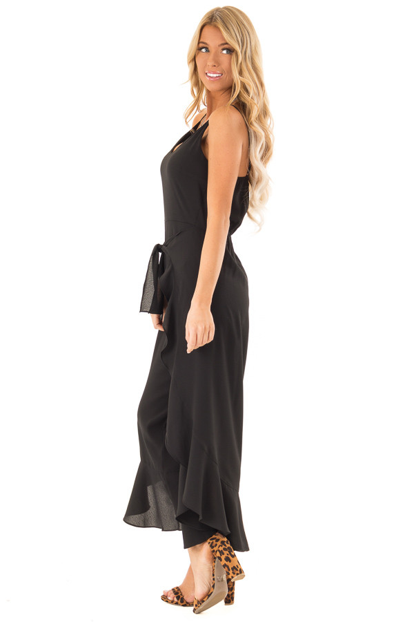 f9dccc806cc0 ... Black Cami Jumpsuit with Ruffled Wrap Legs and Front Tie side full body  ...