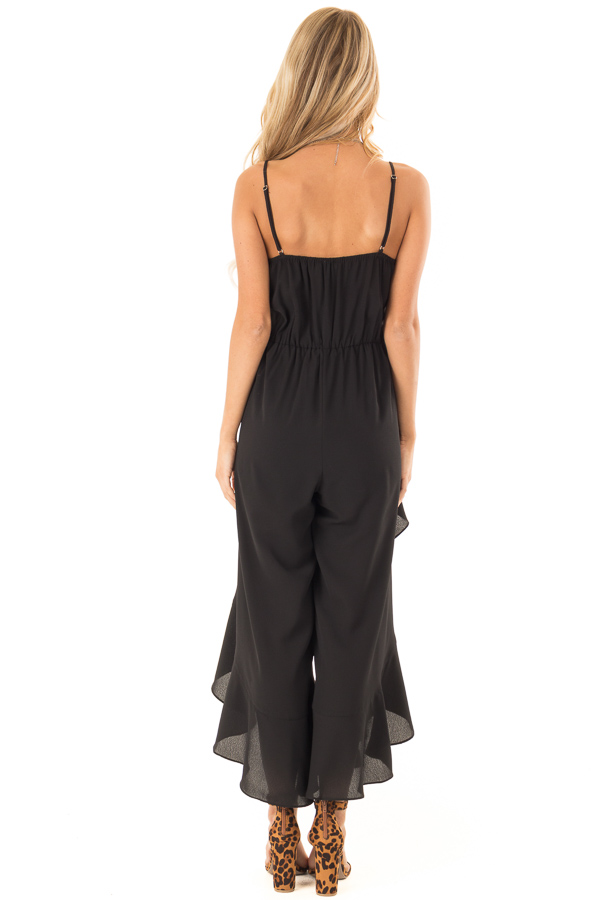 Black Cami Jumpsuit with Ruffled Wrap Legs and Front Tie back full body