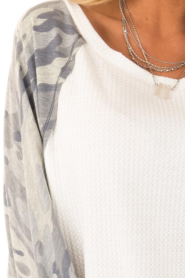 Camo and Cream Waffle Knit Long Sleeve Dolman Top detail