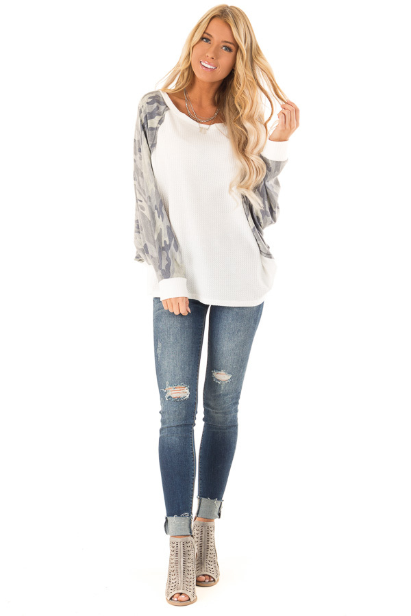 Camo and Cream Waffle Knit Long Sleeve Dolman Top front full body