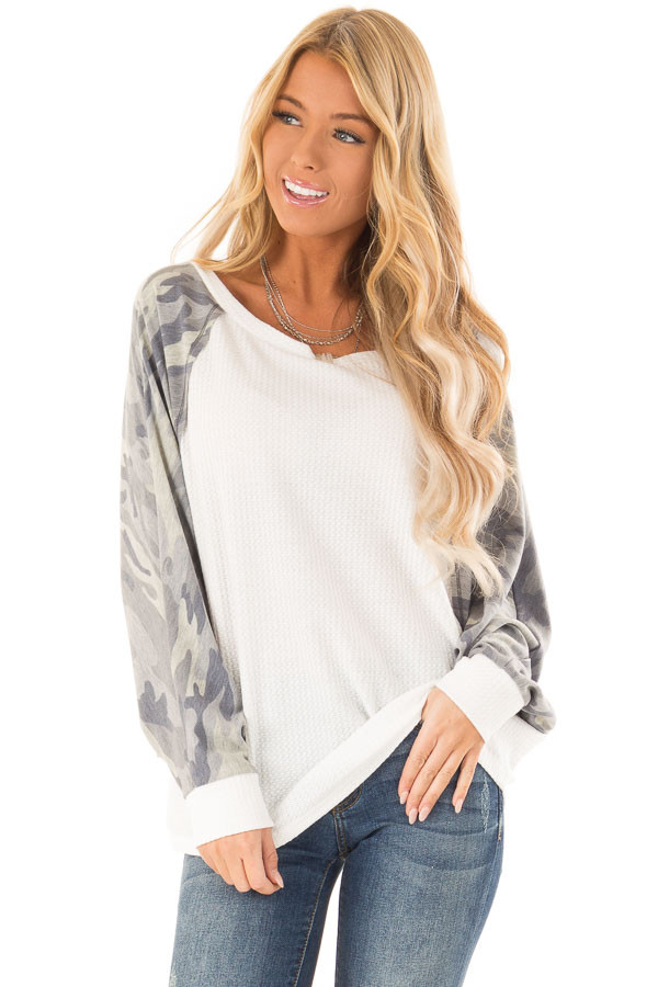 Camo and Cream Waffle Knit Long Sleeve Dolman Top front close up