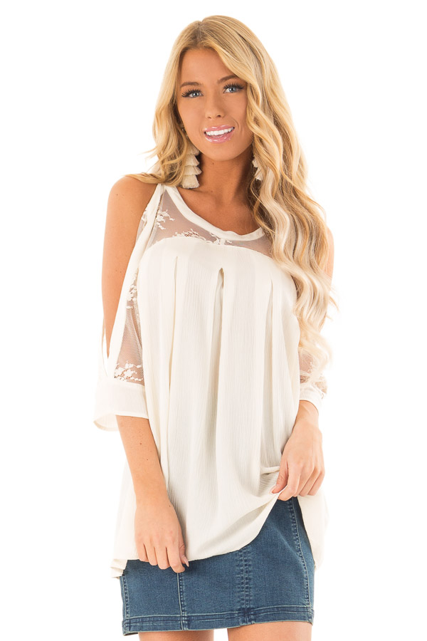 dee57a4cdb8 Ivory Cold Shoulder Pleated Halter Top with Lace Detail - Lime Lush ...