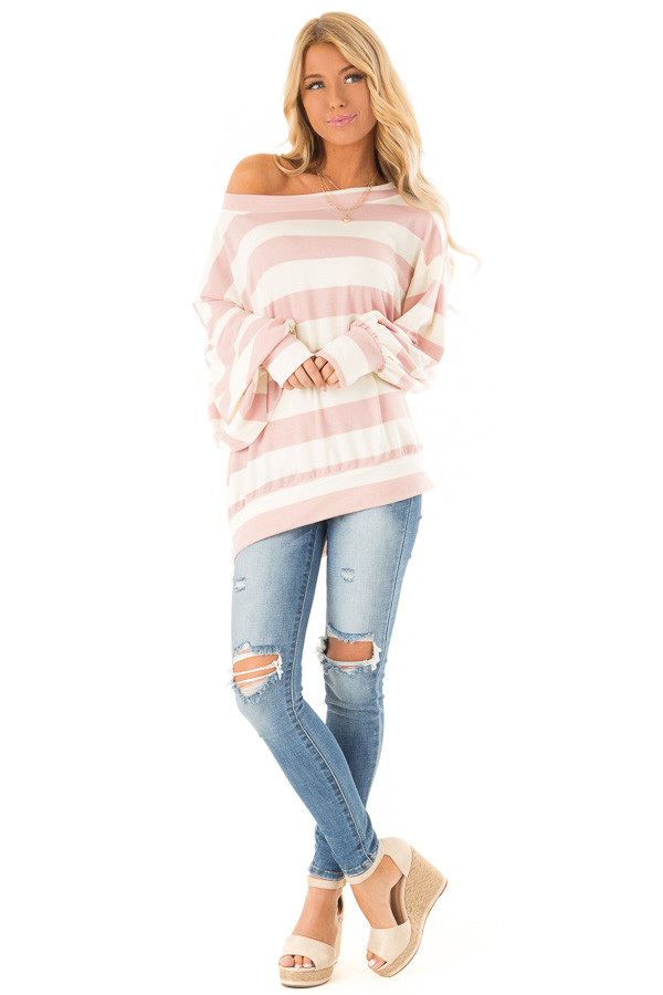 cb6fdea0aa2 Dusty Pink and Cream Striped One Shoulder Long Sleeve Top front full body