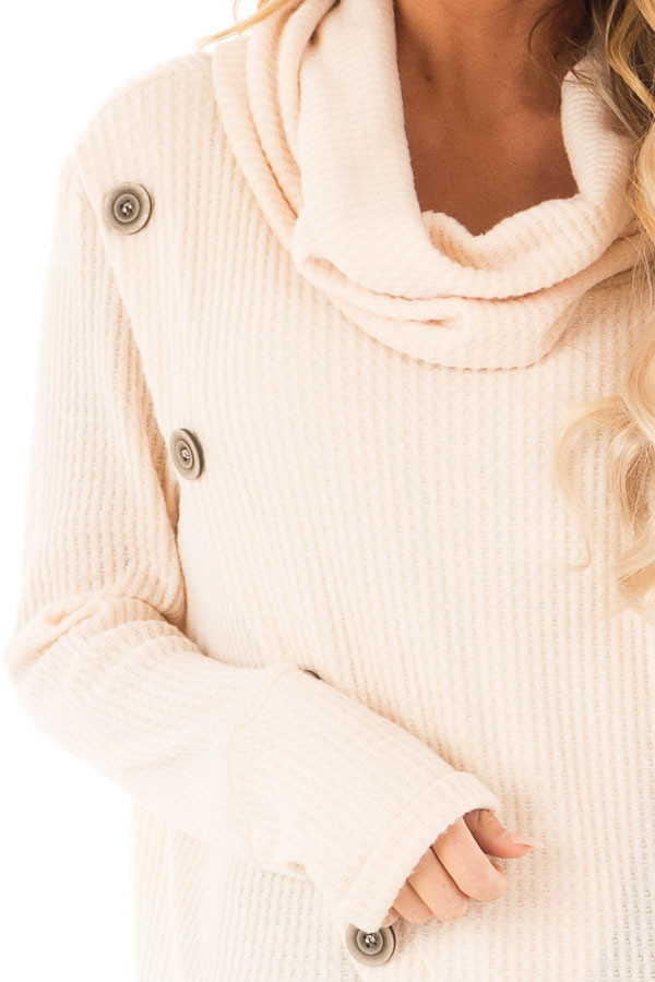 Cream Cowl Neck Waffle Top with Button Detail detail