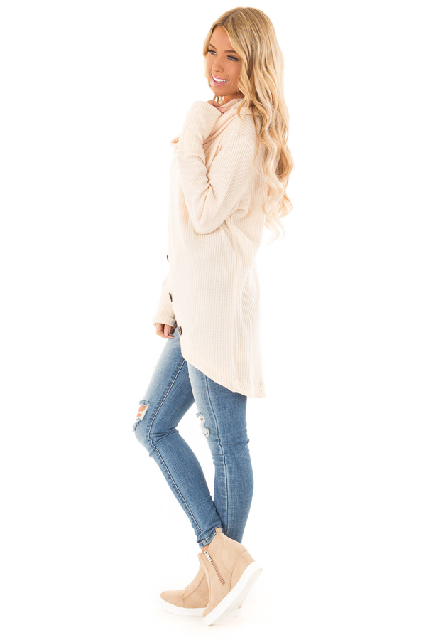 Cream Cowl Neck Waffle Top with Button Detail side full body