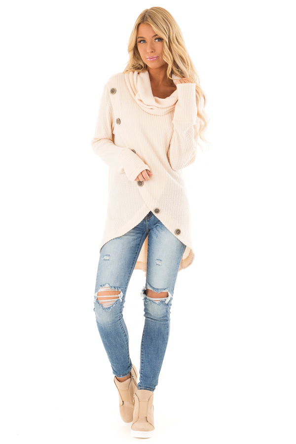 Cream Cowl Neck Waffle Top with Button Detail front full body