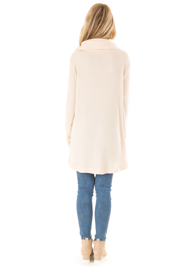 Cream Cowl Neck Waffle Top with Button Detail back full body