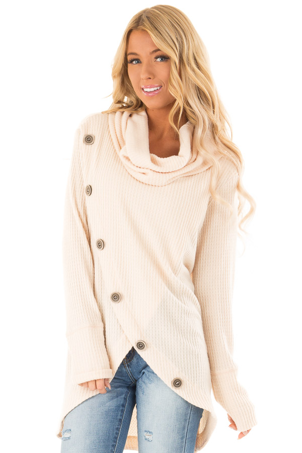 Cream Cowl Neck Waffle Top with Button Detail front close up