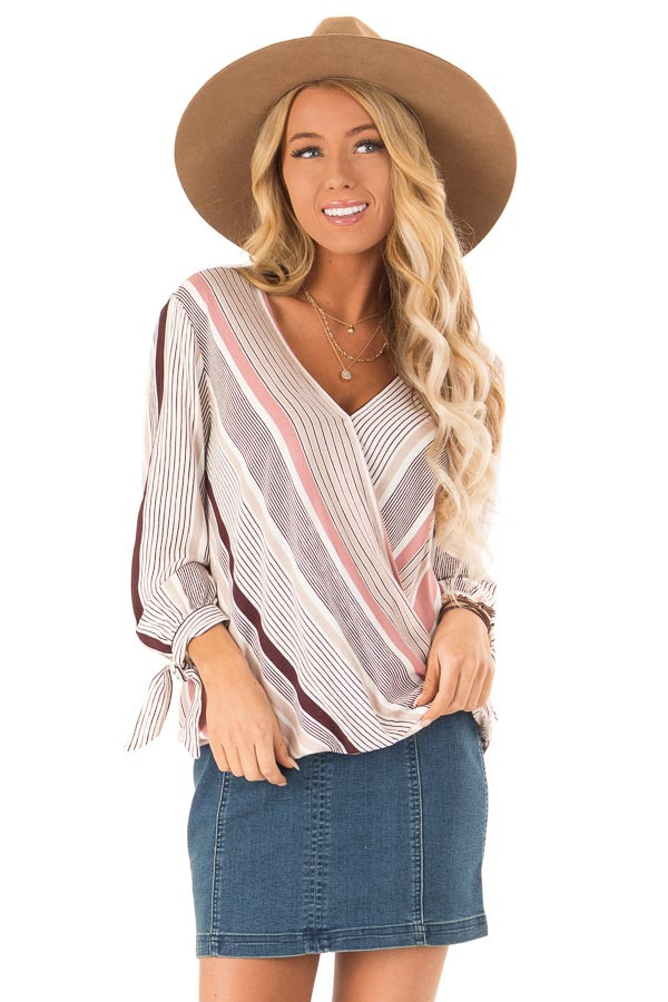 3e8e50d5df811 Multicolor Stripe Surplice Style Top with Sleeve Tie Detail front close up