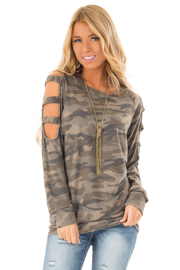 Olive Camo Print Long Sleeve Top with Ladder Cut Out Detail front close up 5ac752beb