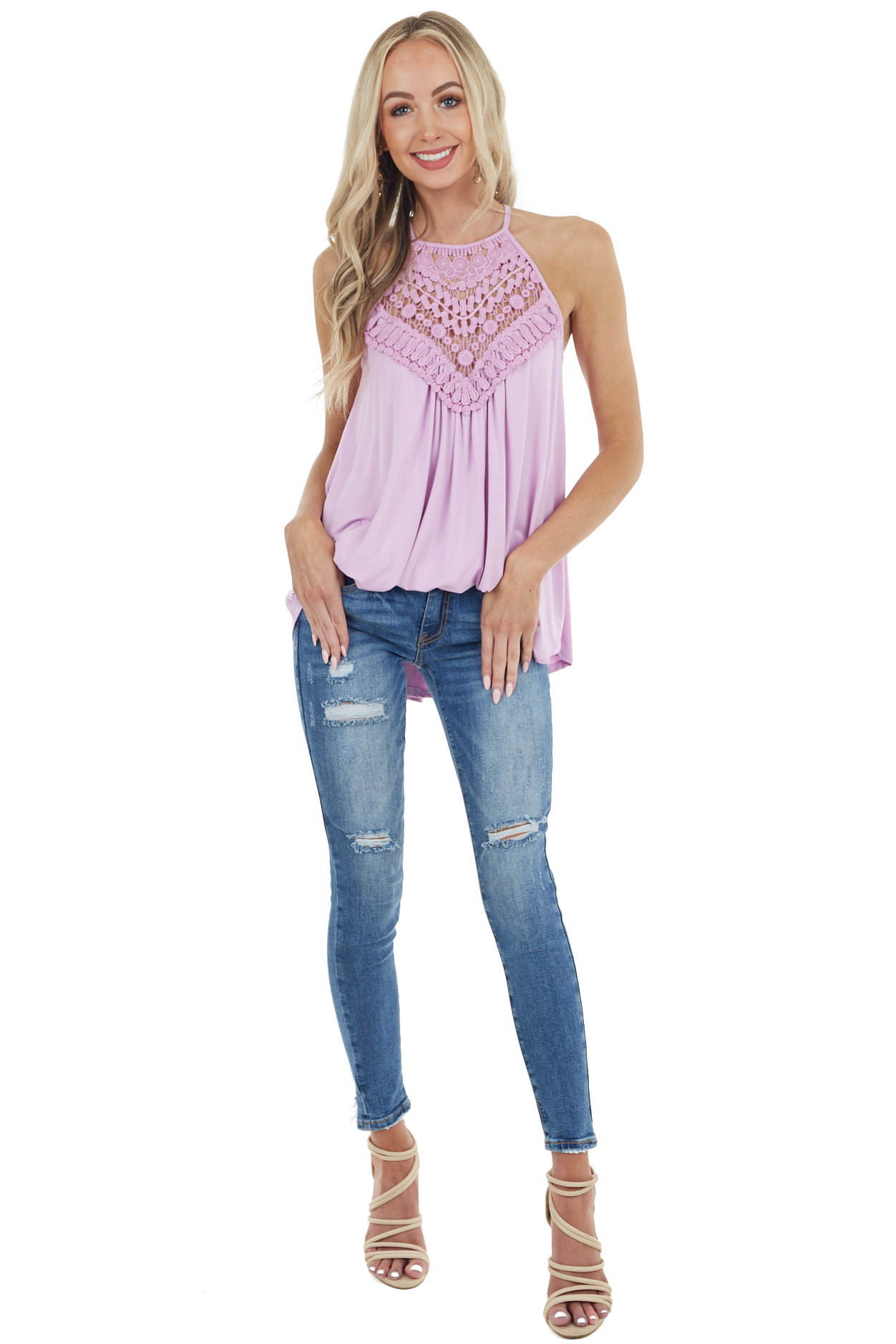 Pale Fuchsia Tank Top with Sheer Lace Chest