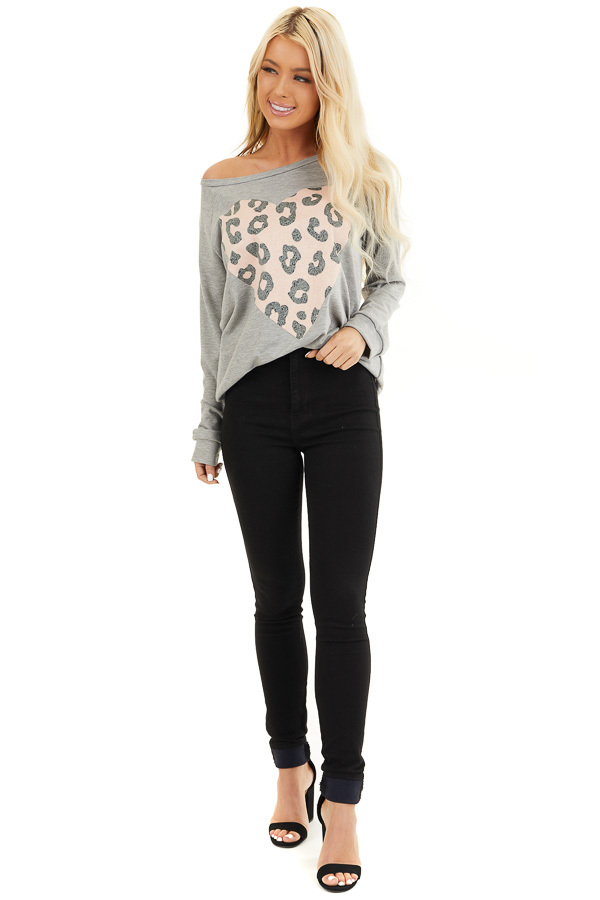 Heather Grey Long Sleeve Top with Pale Pink Leopard Heart front full body