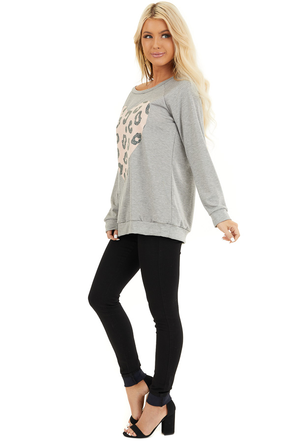 Heather Grey Long Sleeve Top with Pale Pink Leopard Heart side full body