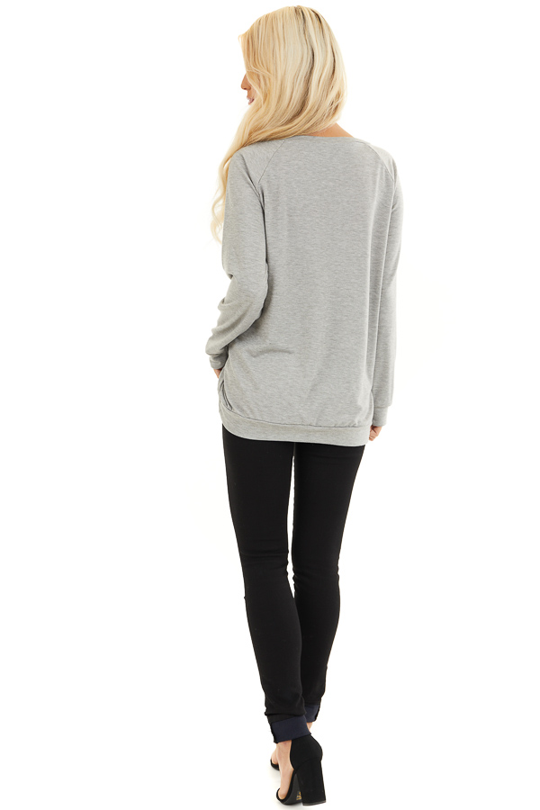 Heather Grey Long Sleeve Top with Pale Pink Leopard Heart back full body