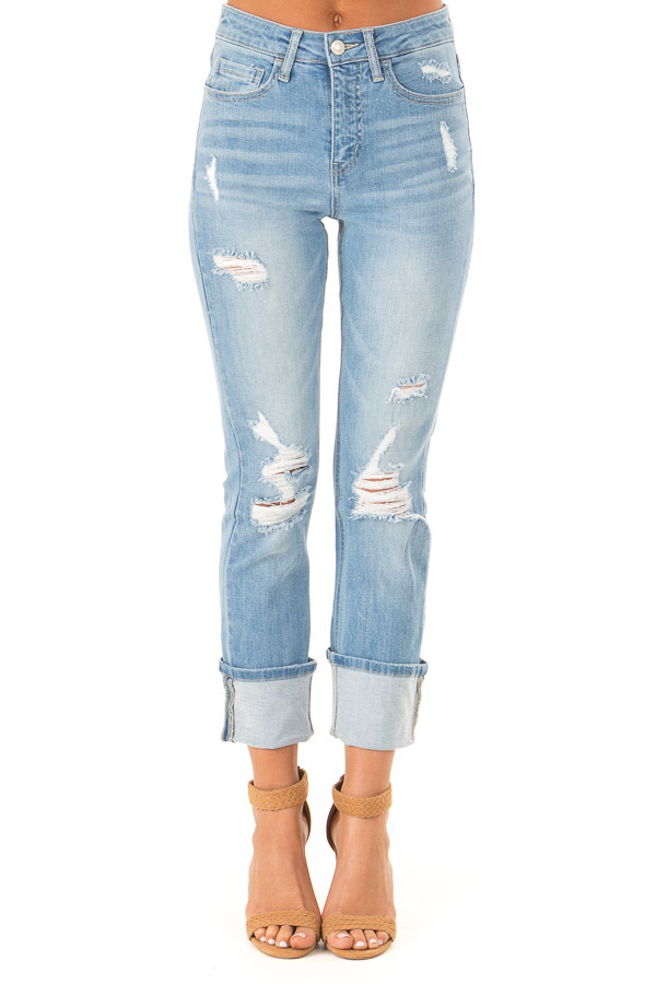 Light Wash Distressed Straight Leg Cropped Denim Jeans front view