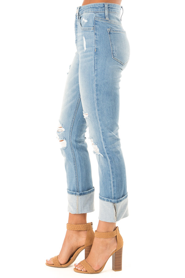 Light Wash Distressed Straight Leg Cropped Denim Jeans side view