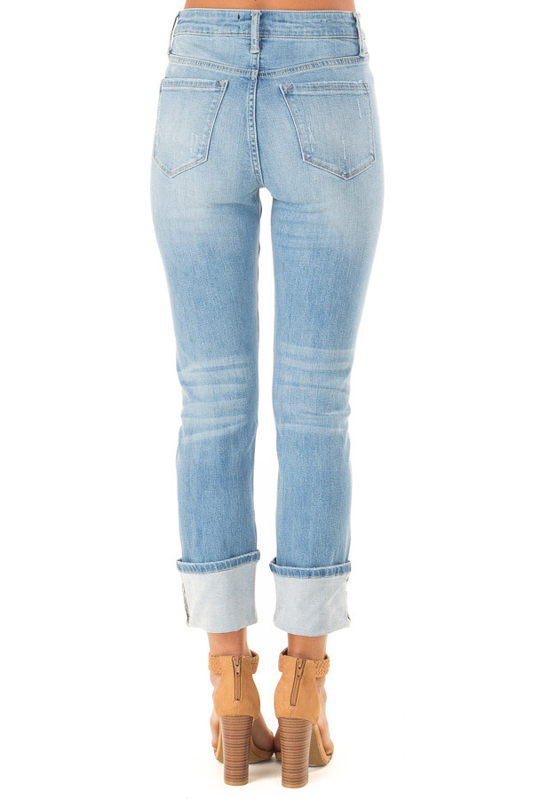 Light Wash Distressed Straight Leg Cropped Denim Jeans back view