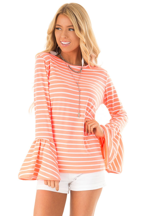 3e173b75359 Neon Pink and Ivory Striped Top with Long Bell Sleeves - Lime Lush ...
