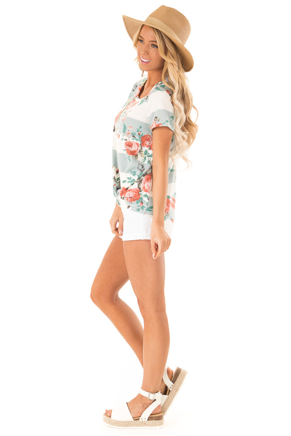 Dusty Blue Stripe Floral Top with Front Knot Detail side full body