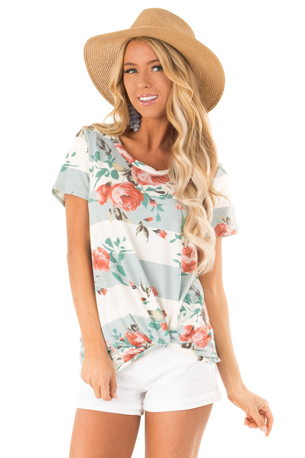 Dusty Blue Stripe Floral Top with Front Knot Detail front close up