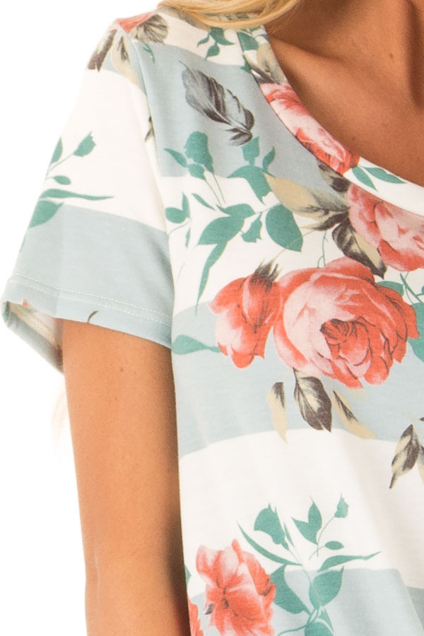 Dusty Blue Stripe Floral Top with Front Knot Detail detail
