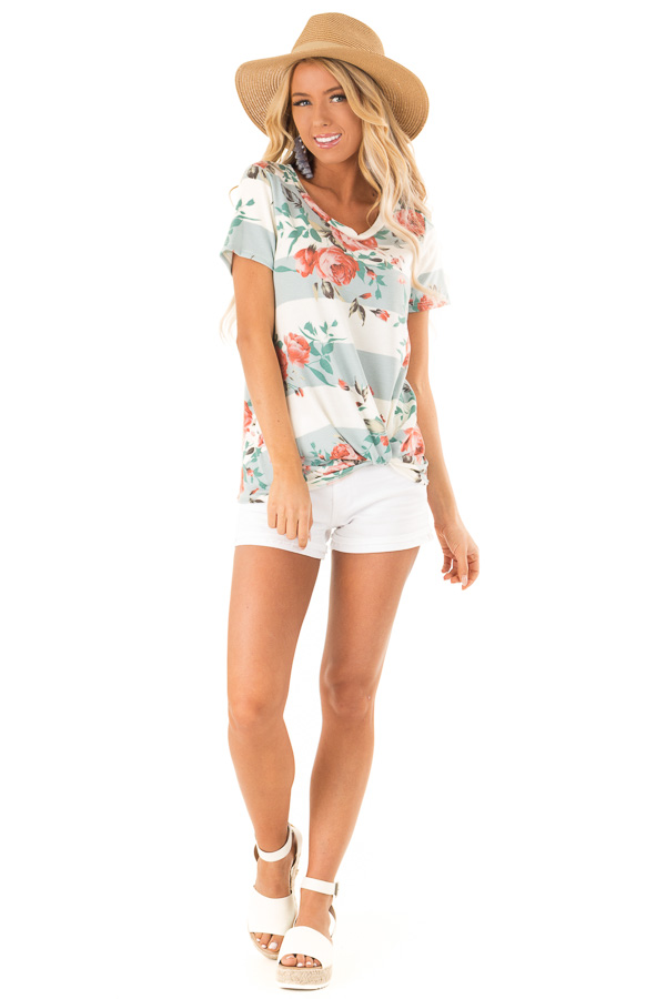 Dusty Blue Stripe Floral Top with Front Knot Detail front full body
