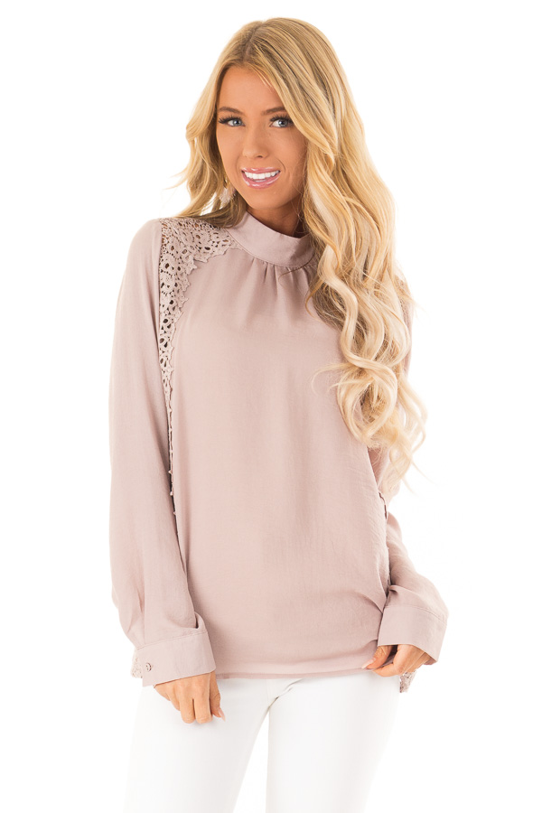 Dusty Pink Mock Neck Long Sleeve Top with Sheer Lace Detail front close up